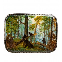 """Russian Painted Box Fedoskino """"Morning in a Pine Forest"""" isp. Glukhov"""