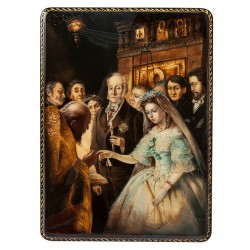 """Russian Painted Box Fedoskino '' Unequal marriage """""""