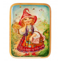 Russian Painted Box Fedoskino '' Little red riding hood ''