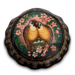 Russian Painted Box Holuy 'Lovers birdies'' Yusov