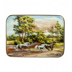 Russian Painted Box Fedoskino '' Summer landscape ''