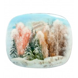 Russian Painted Box Fedoskino '' Winter forest ''