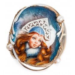 "Russian Painted Box Fedoskino ""Snow maiden"""