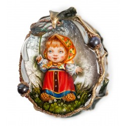 "Russian Painted Box Fedoskino ""Rain"""