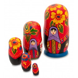 """Maria"" Set of 5 Miniature Nesting Dolls"
