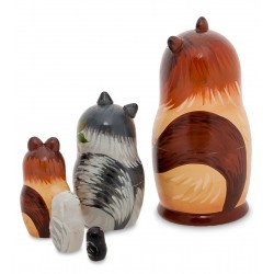 """Cat"" Set of 5 Miniature Nesting Dolls C"