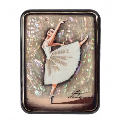 Russian Painted Box Fedoskino '' Ballet '' And isp.Zemina