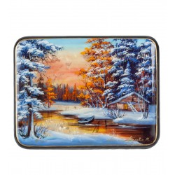 Fedoskino Russian Painted Box '' Winter '' isp.Belova