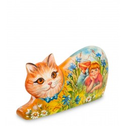 Summer Cat Carved Figurine, Art Painting
