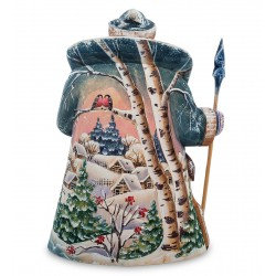 Father Frost with Deer Figurine (Carved) 26 cm (10.2 inches)