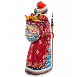 Father Frost with Presents Figurine (Carved) 31 cm (12.2 inches)