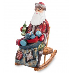 Father Frost with Presents Figurine (Carved) 26 cm (10.2 inches)