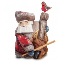 Father Frost with Bass-Viol Figurine (Carved) 16 cm (6.2 inches)