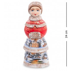 Snow Maiden with Muff Figurine (Carved) 24 cm (9.4 cm)
