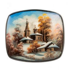 "Russian Painted Box Fedoskino ""The village"" App. Khomin I."