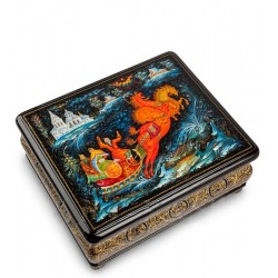 Palekh Russian Painted Box 'Troika in Suzdal' App. Frolov SA