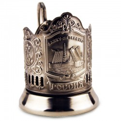 "Silver-plated Cup Holder ""Drawbridges"" niello"