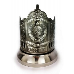 "Nickel-plated Cup holder ""Emblem USSR"" niello"