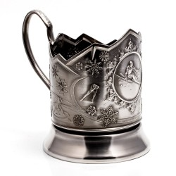 "Nickel-plated Cup Holder ""Biathlon"" niello"