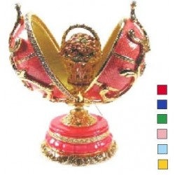 Faberge Double Egg pattern with basket Red color (replica)