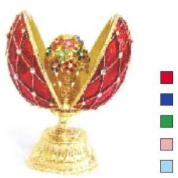 Faberge Double Egg grid with bouqet medium red (replica)