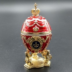 Egg with lions and a crown 7cm red