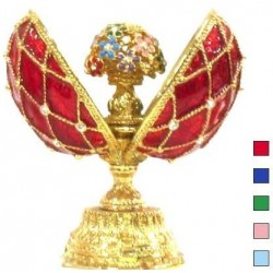 Faberge Double Egg grid with bouquet small blue (replica)