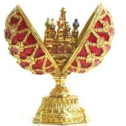Faberge Double Egg with Saint Basil's Cathedral small red (replica)