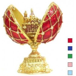 Faberge Double Egg grid with Savior small blue (replica)