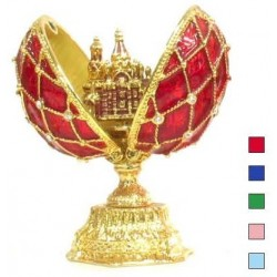 Faberge Double Egg grid with Savior small Red color (replica)