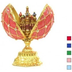 Faberge Double Egg grid with Saint Basil's Cathedral small pink (replica)