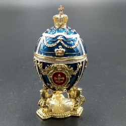 Egg with lions and crown 7cm blue