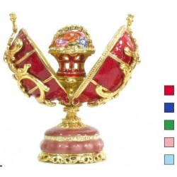 Faberge Double Egg with basket in assort. (replica)