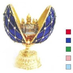 Faberge Double Egg grid with Isaac medium blue (replica)