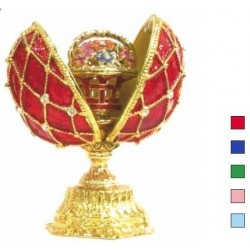 Faberge Double Egg grid with basket small blue (replica)