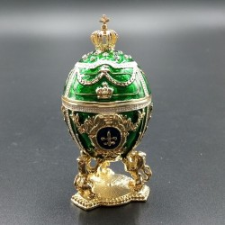 Egg with lions and a crown 7cm green