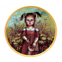 Plate Girl with a cat (decal) Gzhel