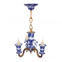 Chandelier Lamp Whim 3 horned Gzhel