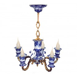 Chandelier Lamp Whim 5 horned Gzhel