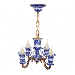 Chandelier Lamp Whim 4 horned Gzhel