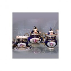 Objects tea set Pigeon (overglaze painting) Gzhel