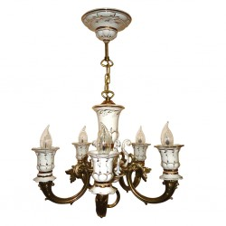 Chandelier Lamp Caprice 5 horned (linen / gold) Gzhel
