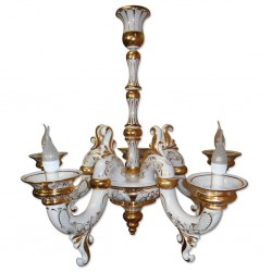 Chandelier Lamp Triumph (5 hexes) linen / gold Gzhel