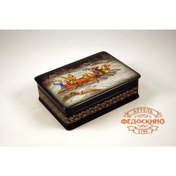 Russian Painted Box with a picture of a Winter Troika
