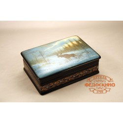 Russian Painted Box with a picture of the Landscape with moose