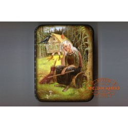Russian Painted Box with a picture of Baba-Yaga