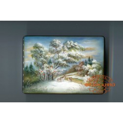 Russian Painted Box depicting Landscape with deer