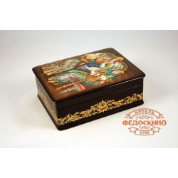 Russian Painted Box with a picture of Three girls