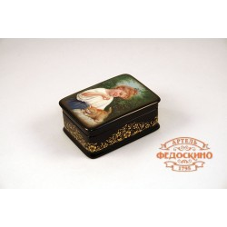 Russian Painted Box with a picture of a Girl with a kitten