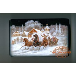 Russian Painted Box with the image - a Celebration of winter in Fedoskino